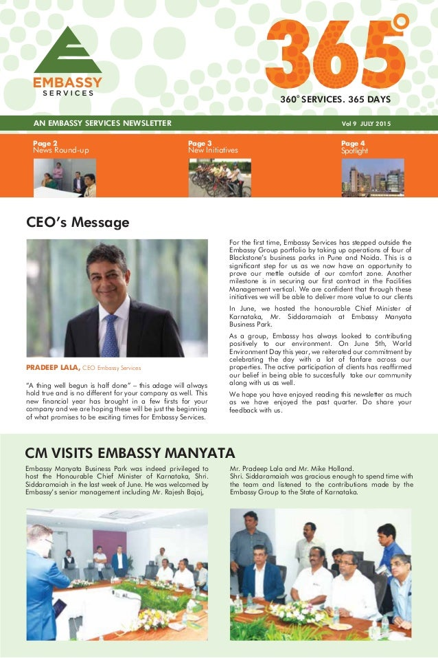 Page 3 New Initiatives Page 4 Spotlight Page 2 News Round-up AN EMBASSY SERVICES NEWSLETTER Vol 9 JULY 2015 360 SERVICES. ...