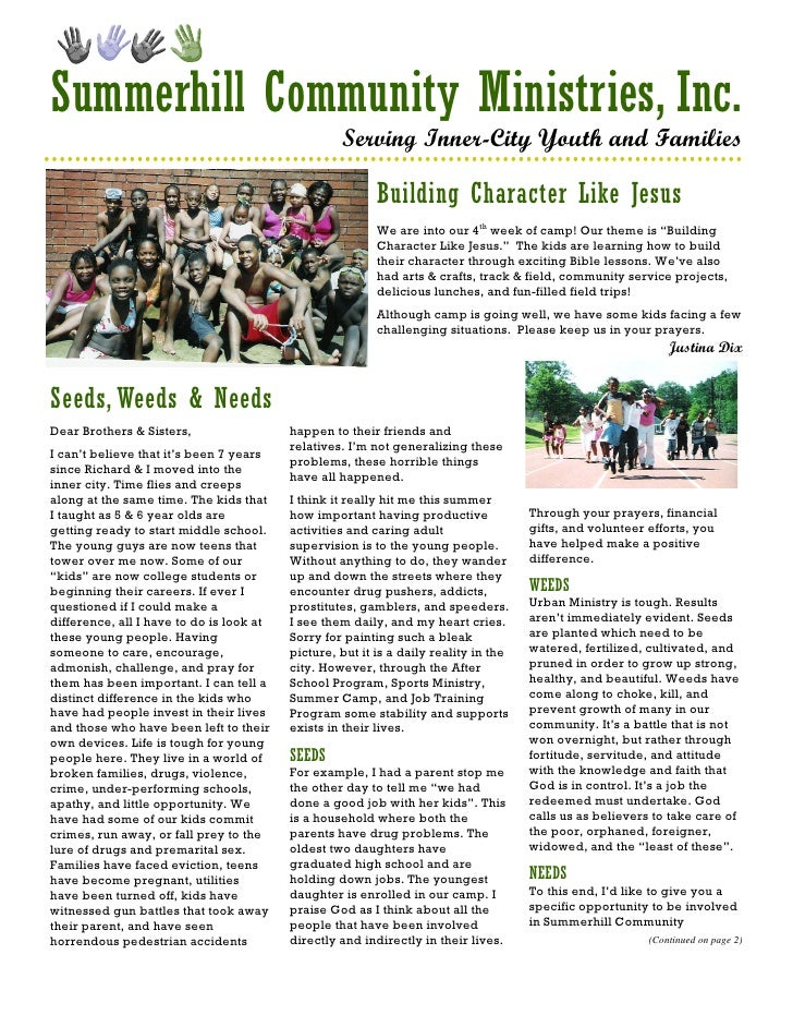 Summerhill Community Ministries, Inc.                                                    Serving Inner-City Youth and Fami...