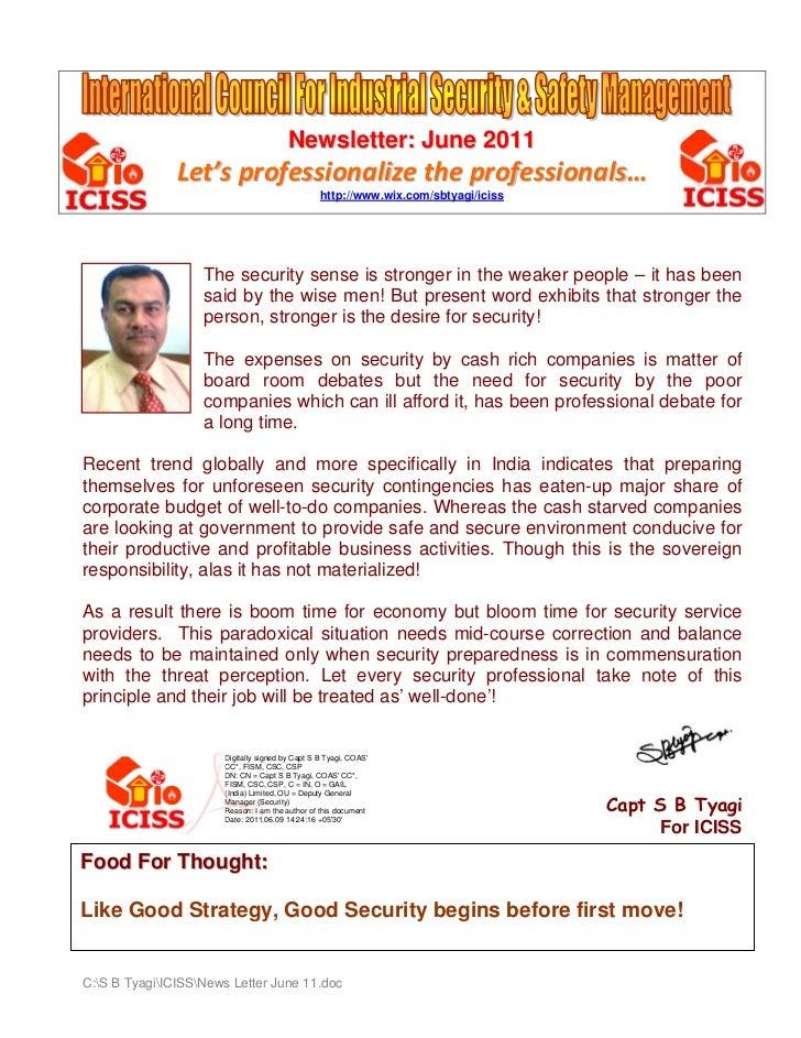 Newsletter: June 2011               Let'sprofessionalizetheprofessionals…                                             ...