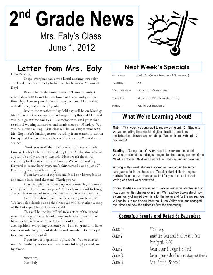 nd2 Grade News                     Mrs. Ealy's Class                       June 1, 2012    Letter from Mrs. Ealy          ...