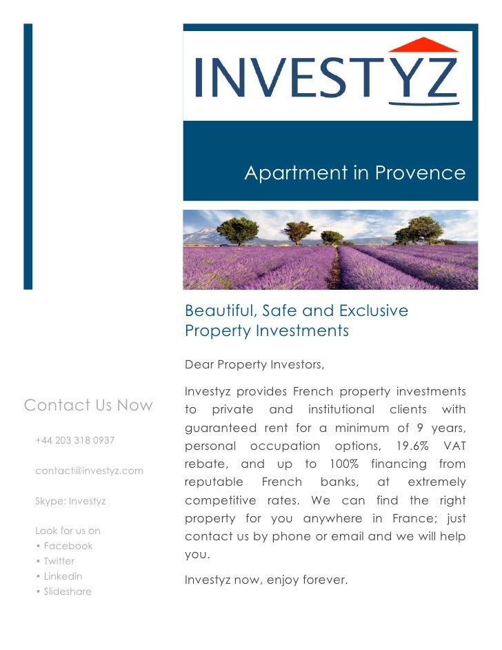 Apartment in Provence                        Beautiful, Safe and Exclusive                        Property Investments    ...