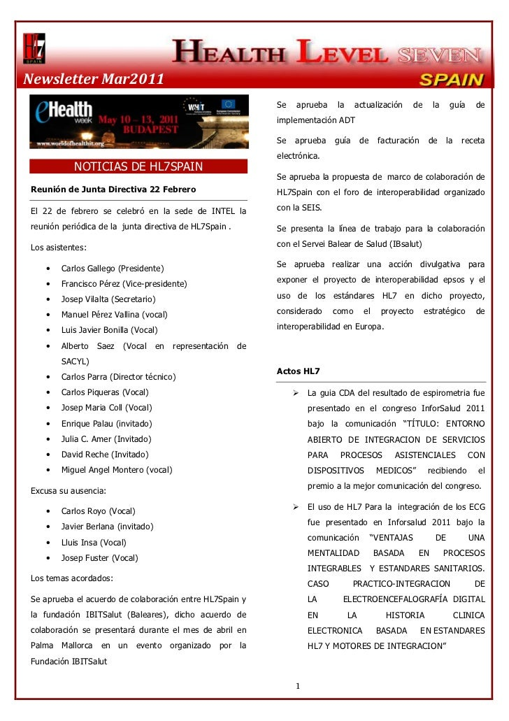 Newsletter Marzo HL7 Spain