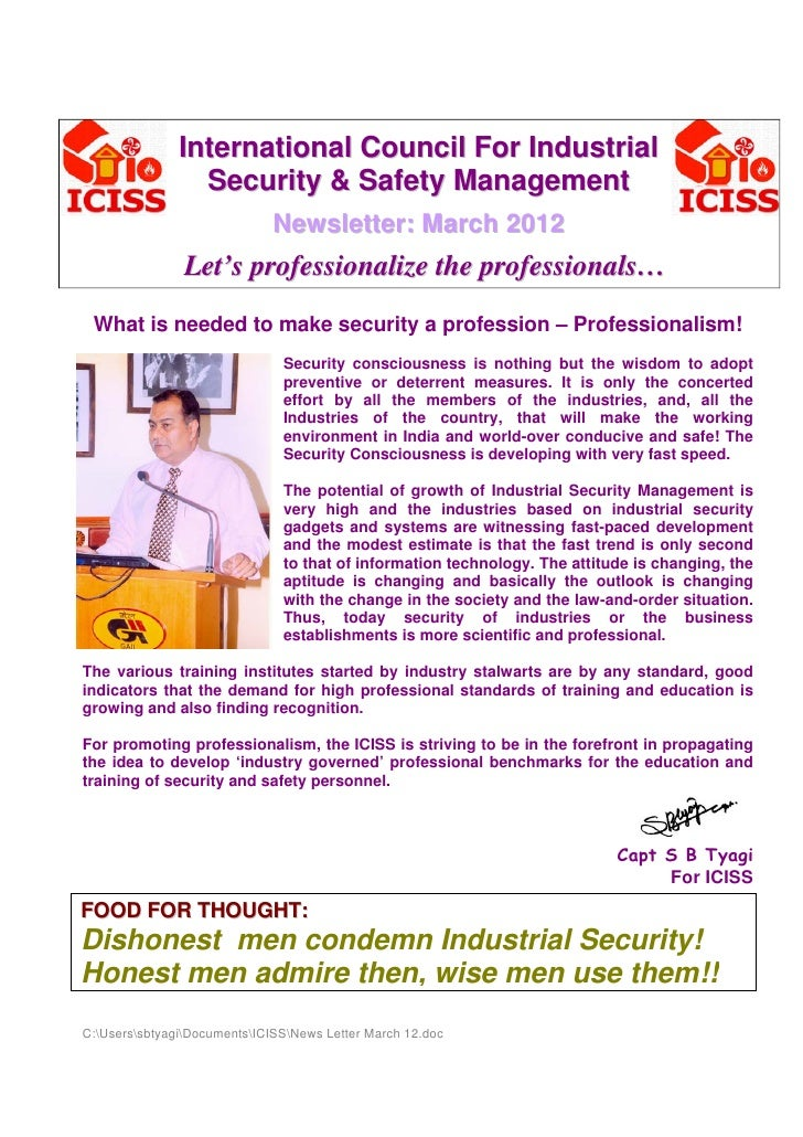 International Council For Industrial                 Security & Safety Management                              Newsletter:...