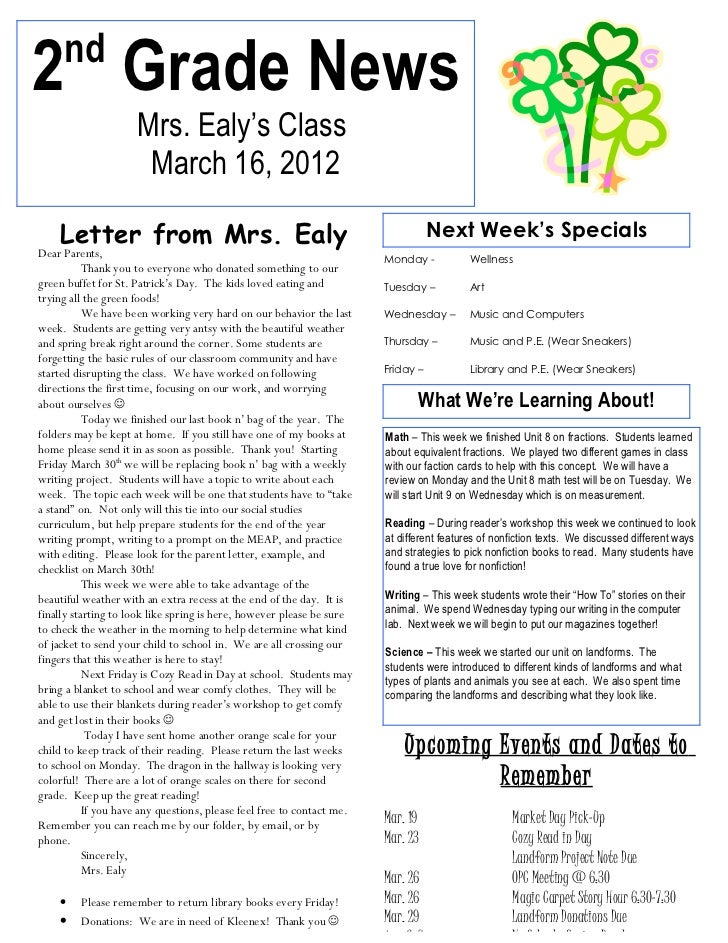 nd2 Grade News                     Mrs. Ealy's Class                      March 16, 2012    Letter from Mrs. Ealy         ...