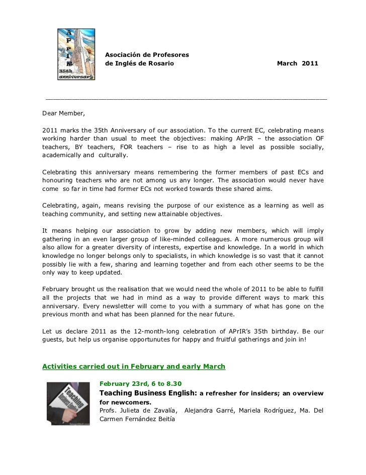 Asociación de Profesores                    de Inglés de Rosario                                      March 2011 _________...