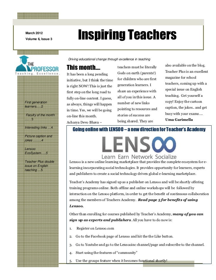 March 2012Volume 6, Issue 3              Inspiring Teachers                       Driving educational change through excel...