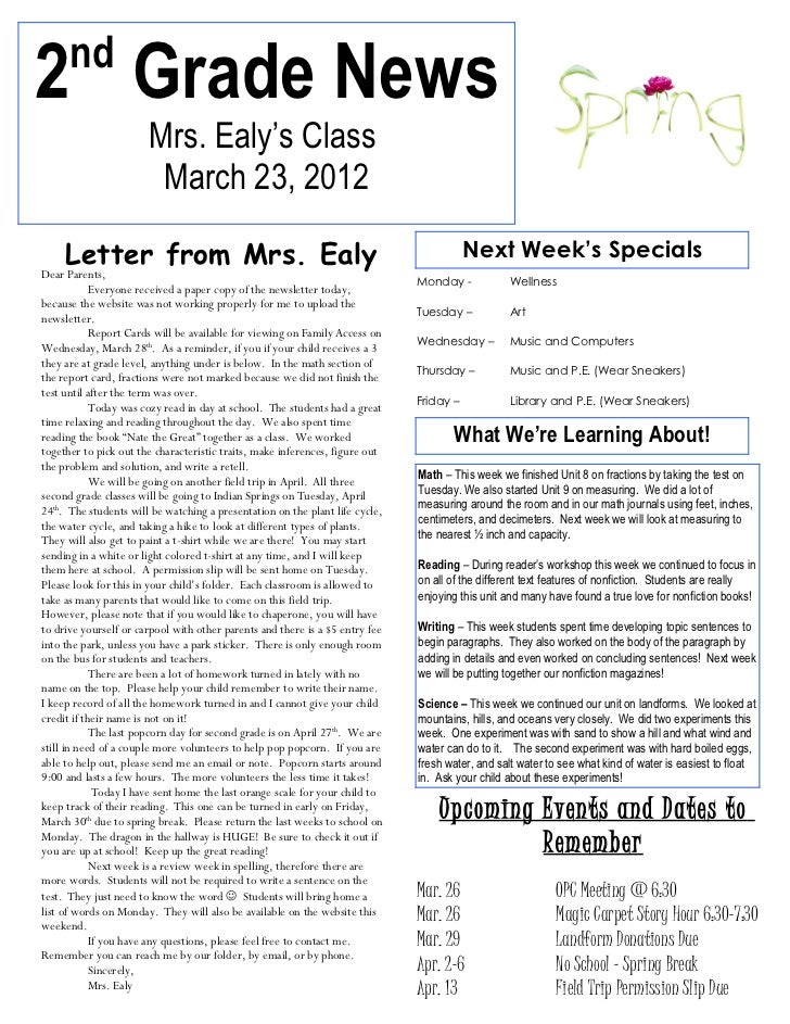 nd2 Grade News                       Mrs. Ealy's Class                        March 23, 2012    Letter from Mrs. EalyDear ...