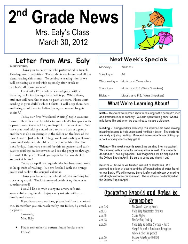 nd2 Grade News                   Mrs. Ealy's Class                    March 30, 2012    Letter from Mrs. Ealy             ...