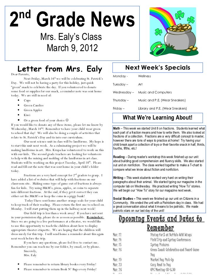 nd2 Grade News                      Mrs. Ealy's Class                       March 9, 2012     Letter from Mrs. Ealy       ...