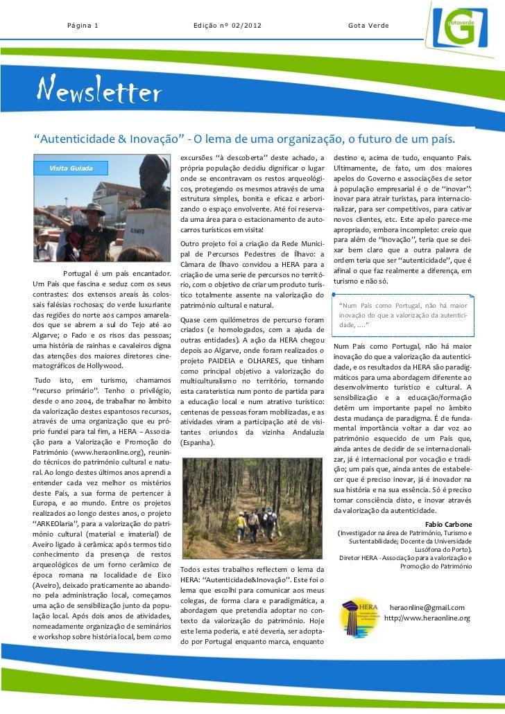 """Página 1                                Edição nº 02/2012                                Gota Verde Newsletter""""Autenticida..."""