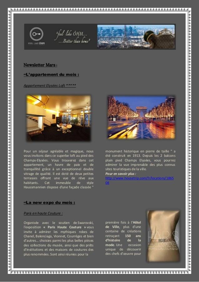 Newsletter Mars :∞L'appartement du mois :Appartement Elysées Loft *****Pour un séjour agréable et magique, nousvous invito...