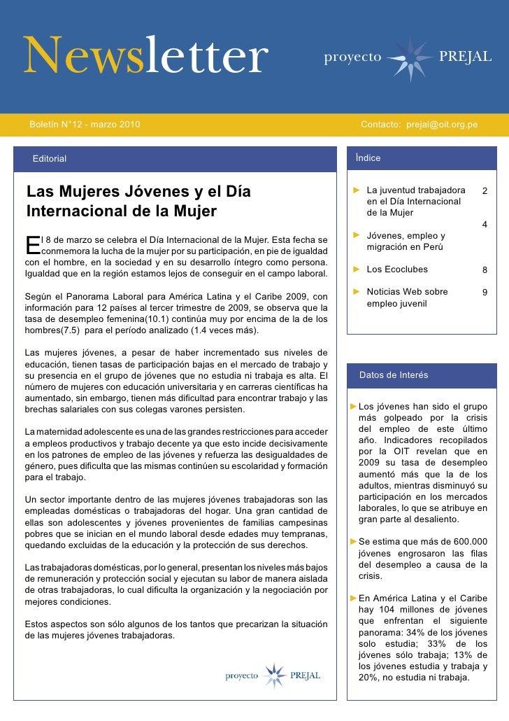 Newsletter                                                                 proyecto                   PREJAL     Boletín N...