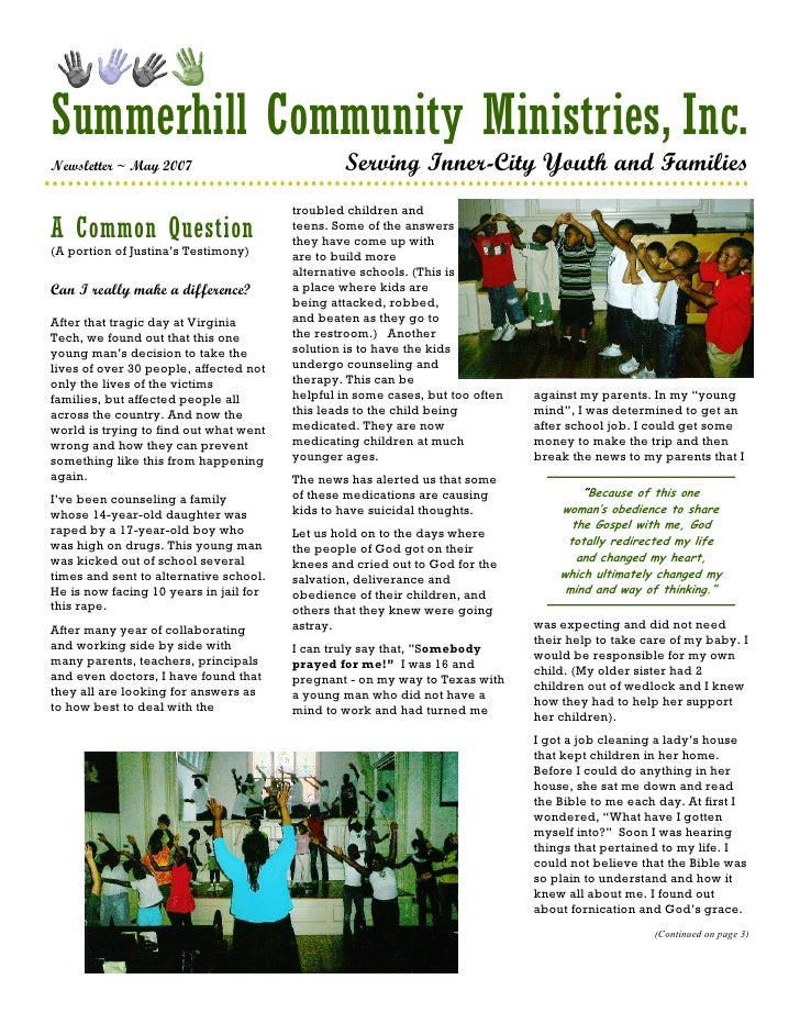Summerhill Community Ministries, Inc. Newsletter ~ May 2007                           Serving Inner-City Youth and Familie...