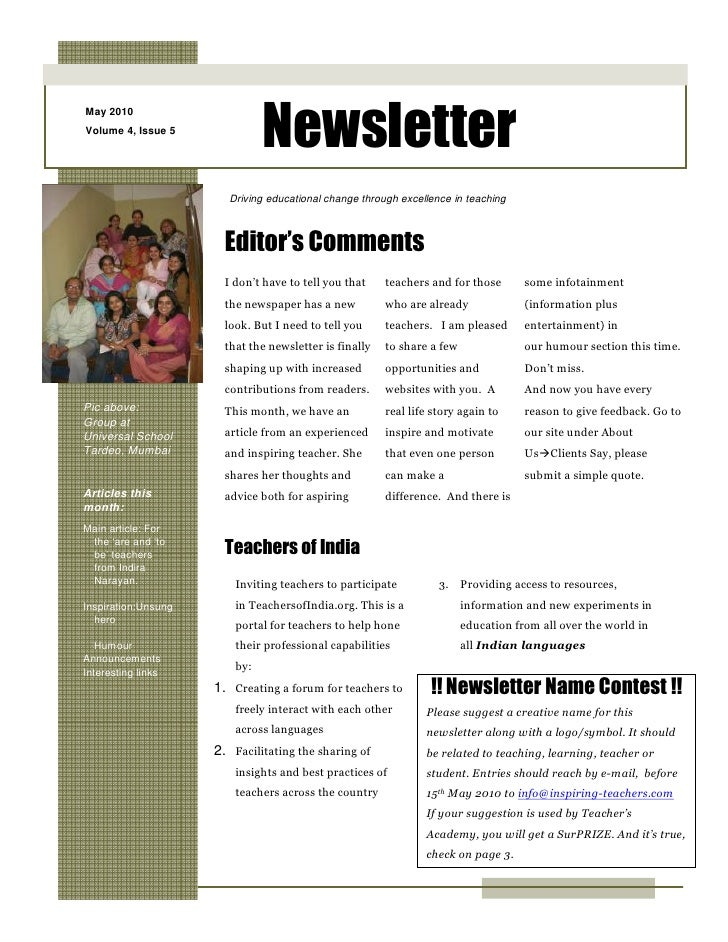 Newsletter May 2010 Volume 4, Issue 5                            Driving educational change through excellence in teaching...