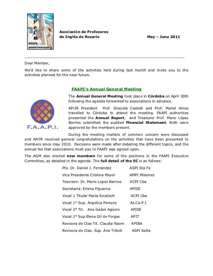 Asociación de Profesores                  de Inglés de Rosario                               May – June 2011Dear Member,We...