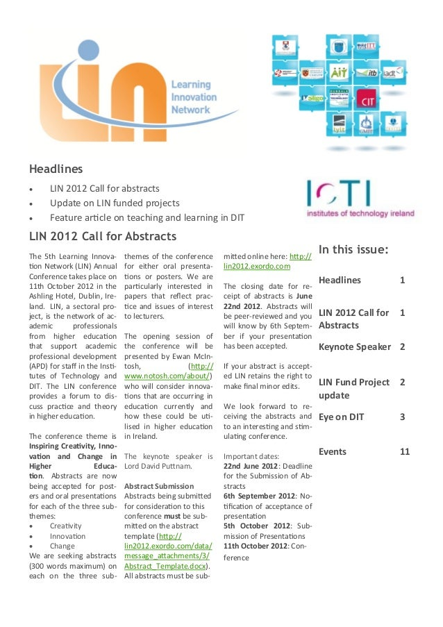 Headlines     LIN 2012 Call for abstracts     Update on LIN funded projects     Feature article on teaching and learnin...