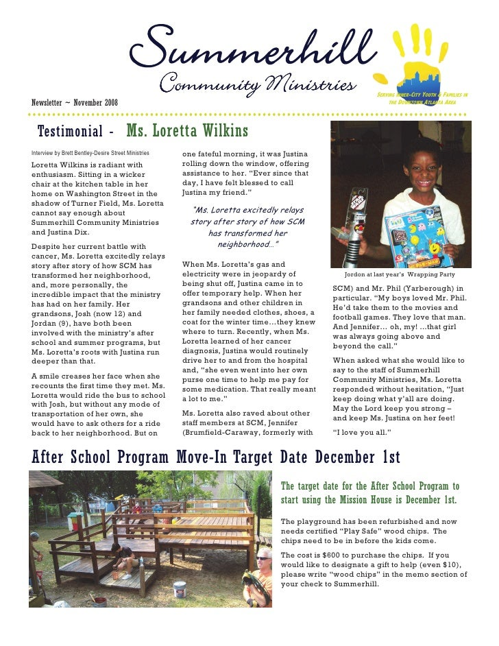 Community Ministries                                    SERVING INNER-CITY YOUTH & FAMILIES IN Newsletter ~ November 2008 ...