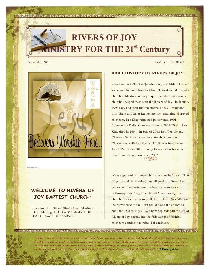 -1155700-933450<br /><ul><li>WELCOME TO RIVERS OF JOY BAPTIST CHURCH:Location: Rt. 139 and Shady Lane, Minford Ohio. Maili...