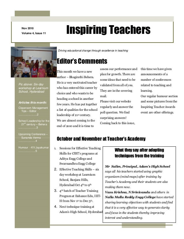 Nov 2010 Volume 4, Issue 11 Inspiring Teachers Pic above: Six-day workshop at Learnium School, Hyderabad Articles this mon...