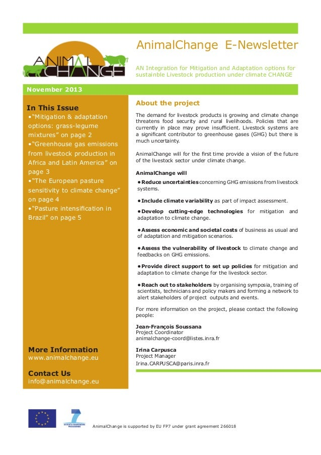 AnimalChange E-Newsletter AN Integration for Mitigation and Adaptation options for sustainble Livestock production under c...