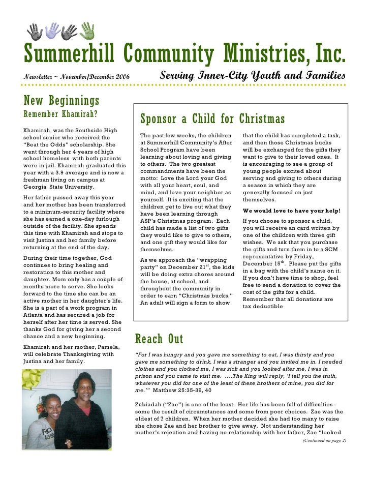 Summerhill Community Ministries, Inc. Newsletter ~ November/December 2006              Serving Inner-City Youth and Famili...
