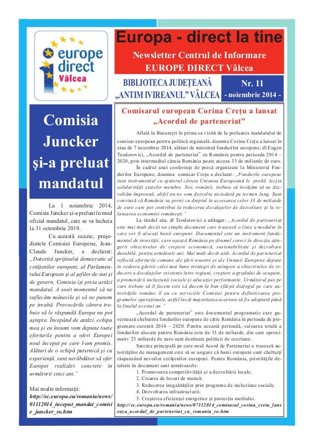 "Europa - direct la tine  Newsletter Centrul de Informare  EUROPE DIRECT V@lcea  BIBLIOTECAJUDE|EAN~  ""ANTIMIVIREANUL""V^LCE..."