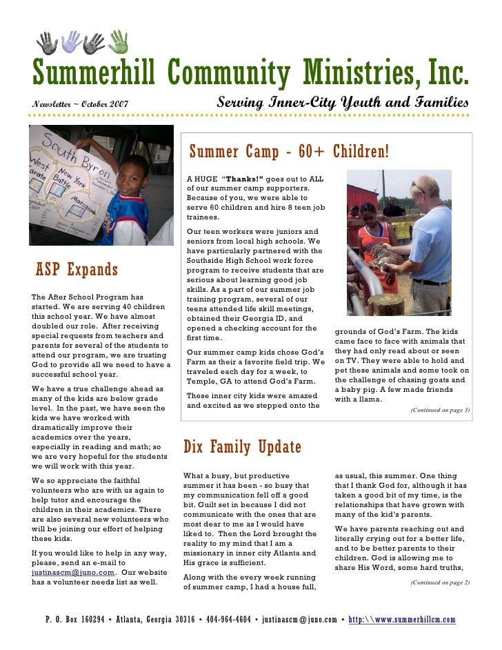 Summerhill Community Ministries, Inc. Newsletter ~ October 2007                        Serving Inner-City Youth and Famili...