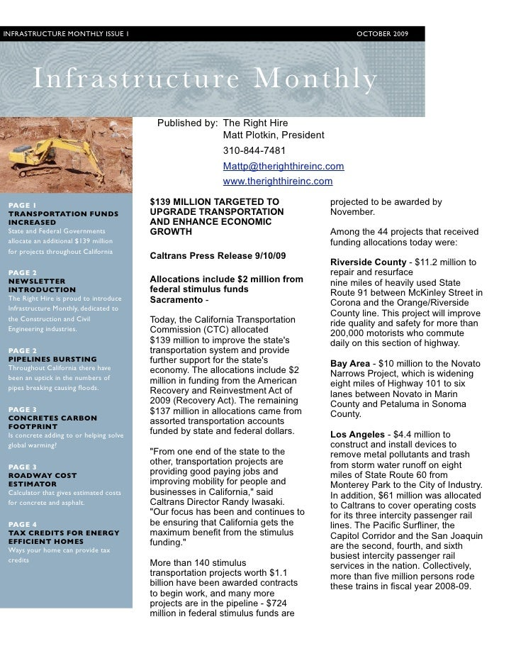INFRASTRUCTURE MONTHLY ISSUE 1                                                           OCTOBER 2009             I nfrast...