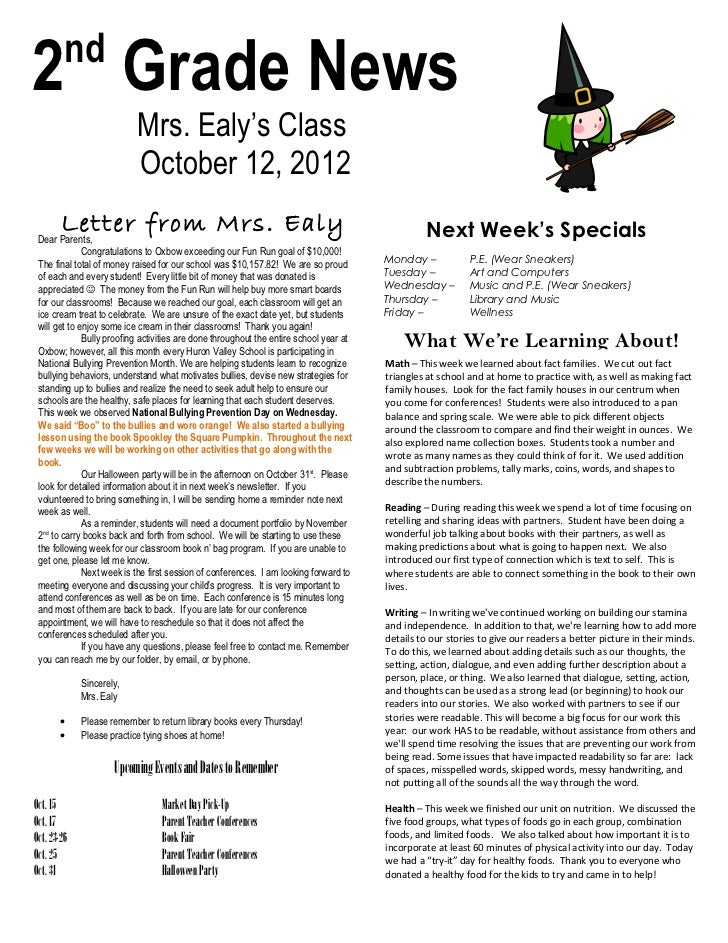 nd2 Grade News                           Mrs. Ealy's Class                           October 12, 2012        Letter from M...