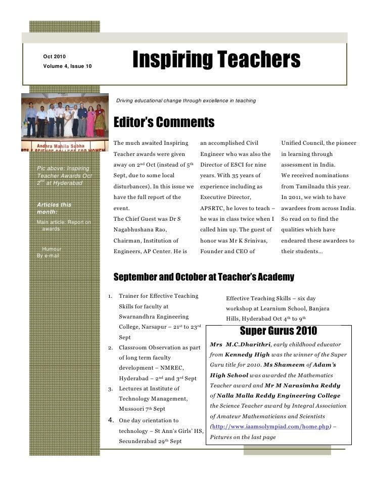 Oct 2010   Volume 4, Issue 10                    Inspiring Teachers                                Driving educational cha...