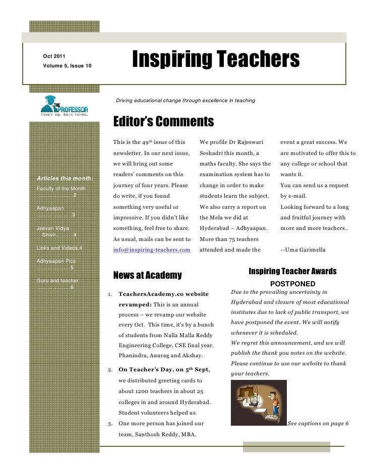 Oct 2011  Volume 5, Issue 10               Inspiring Teachers                            Driving educational change throug...