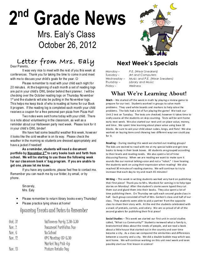 nd2 Grade News                        Mrs. Ealy's Class                        October 26, 2012      Letter from Mrs. Ealy...