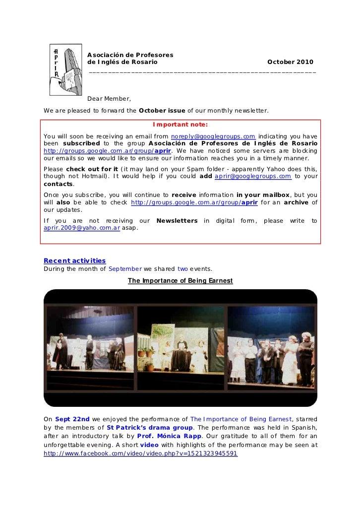 A sociación de Profesores              de Inglés de Rosario                          October 2010              ___________...