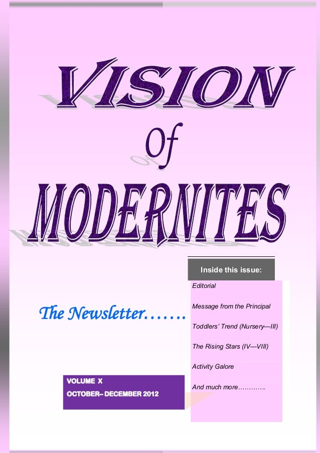 Inside this issue:                            Editorial                            Message from the PrincipalThe Newslette...