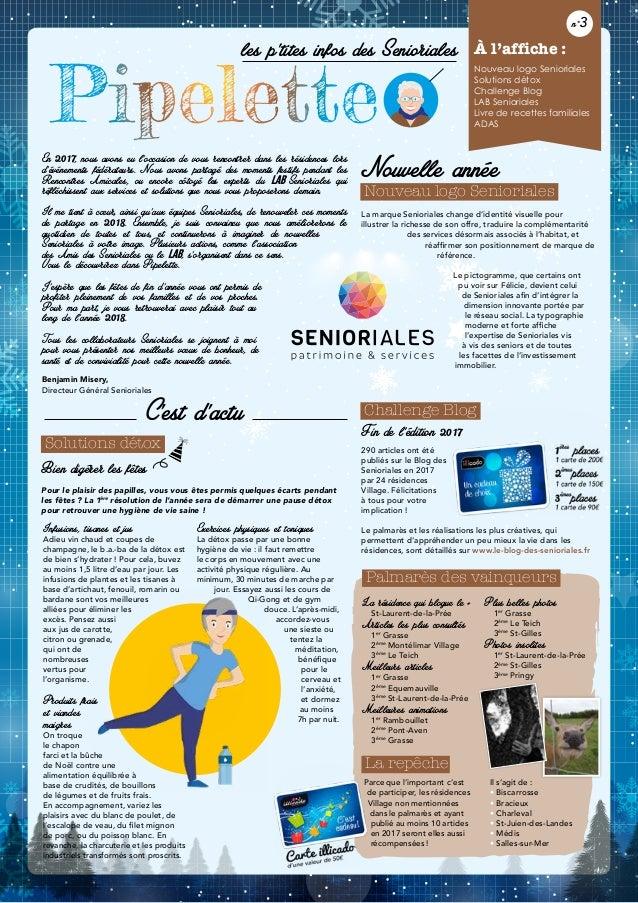 Pipelette les p'tites infos des Senioriales À l'affiche : Nouveau logo Senioriales Solutions détox Challenge Blog LAB Seni...