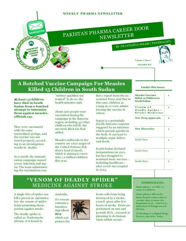 Pakistan Pharma Career Door Newsletter - Vol 1, Issue 1