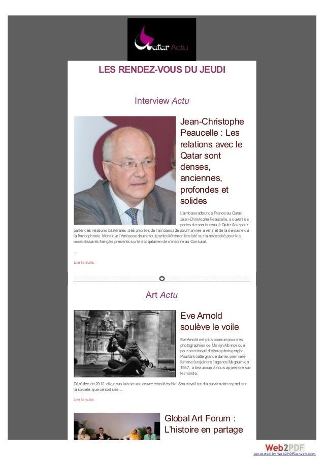 LES RENDEZ-VOUS DU JEUDI Interview Actu Jean-Christophe Peaucelle : Les relations avec le Qatar sont denses, anciennes, pr...