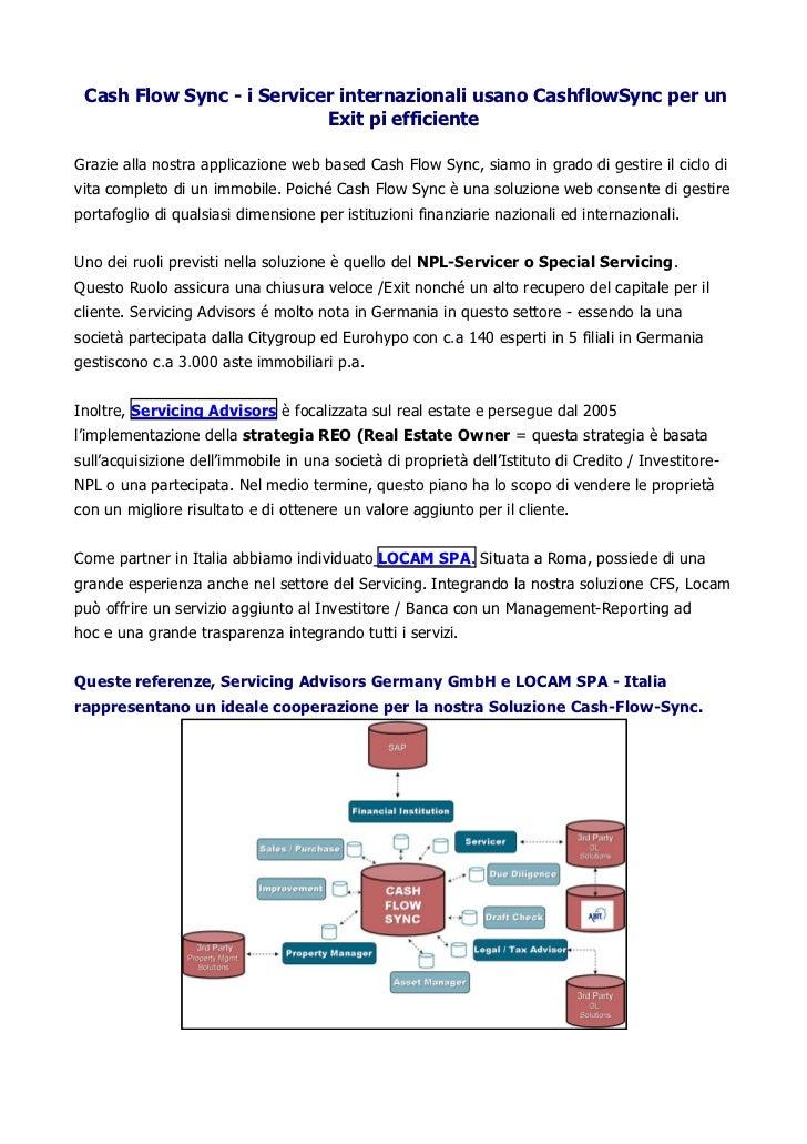 Cash Flow Sync - i Servicer internazionali usano CashflowSync per un                           Exit pi efficienteGrazie al...