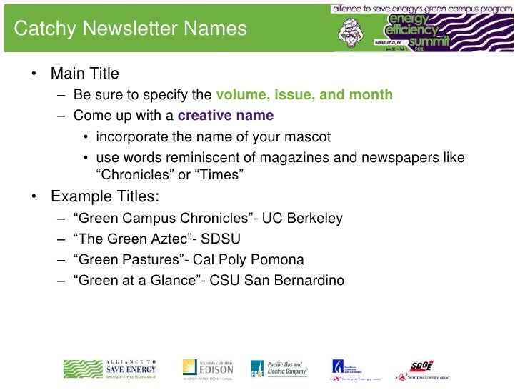 newsletter titles