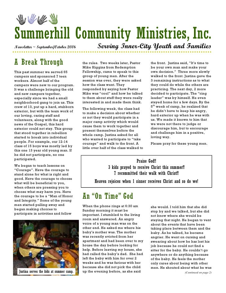 Summerhill Community Ministries, Inc. Newsletter ~ September/October 2006                   Serving Inner-City Youth and F...