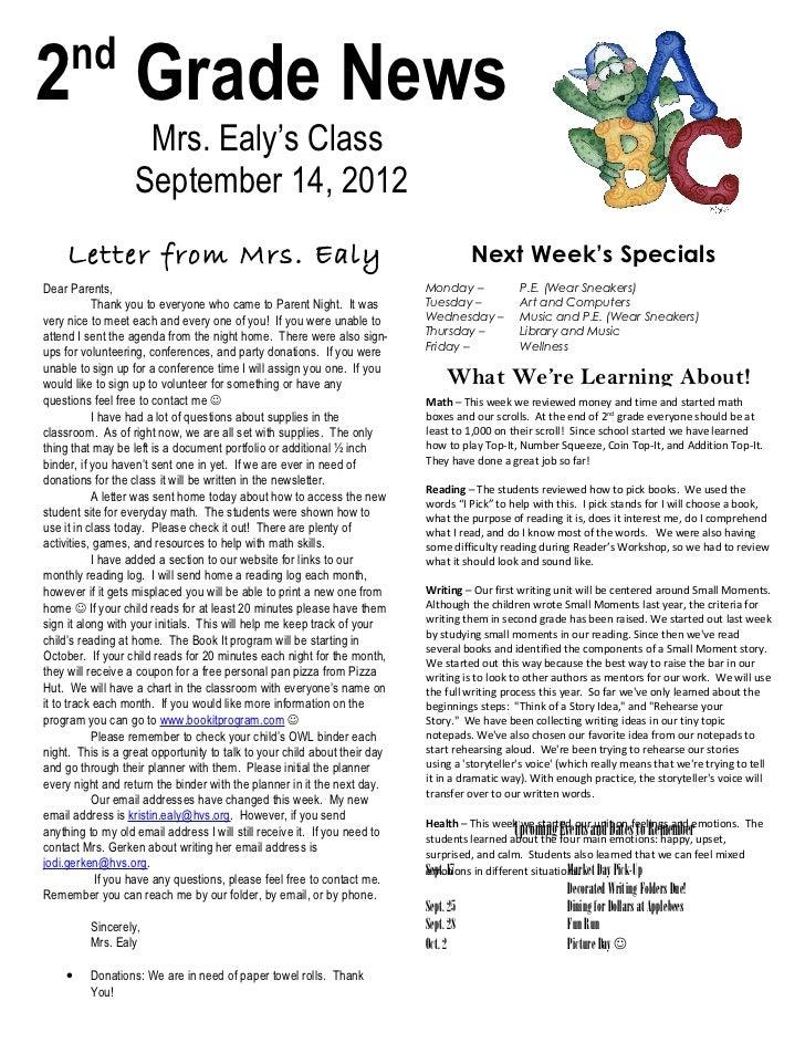 nd2 Grade News                    Mrs. Ealy's Class                   September 14, 2012     Letter from Mrs. Ealy        ...