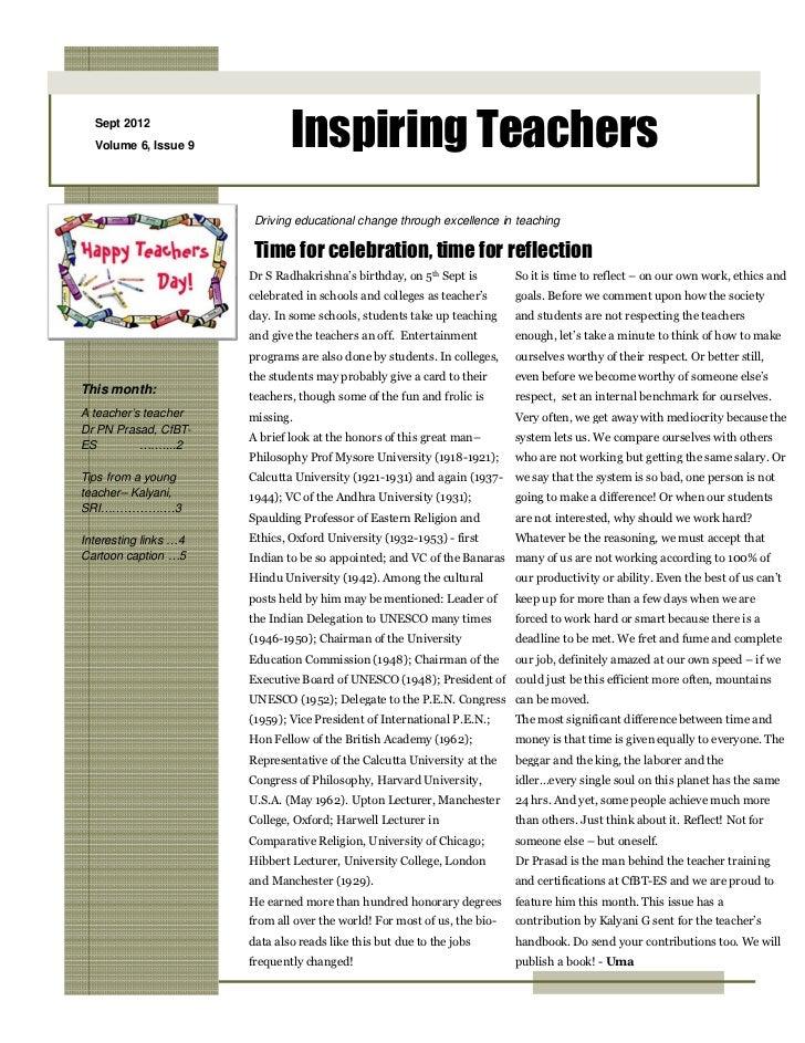 Sept 2012  Volume 6, Issue 9            Inspiring Teachers                        Driving educational change through excel...