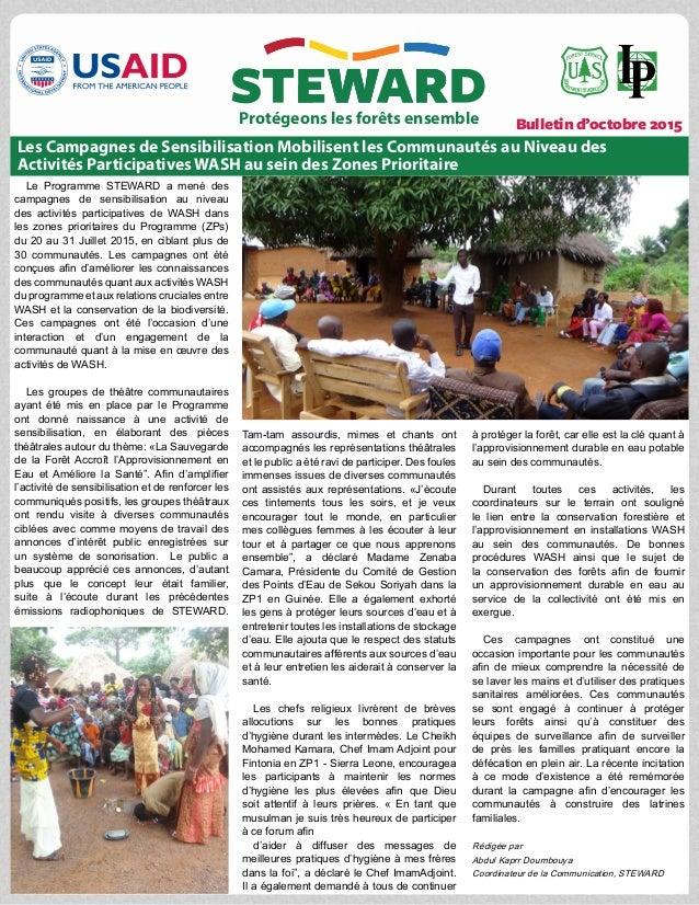 Bulletin d'octobre 2015 Le Programme STEWARD a mené des campagnes de sensibilisation au niveau des activités participative...