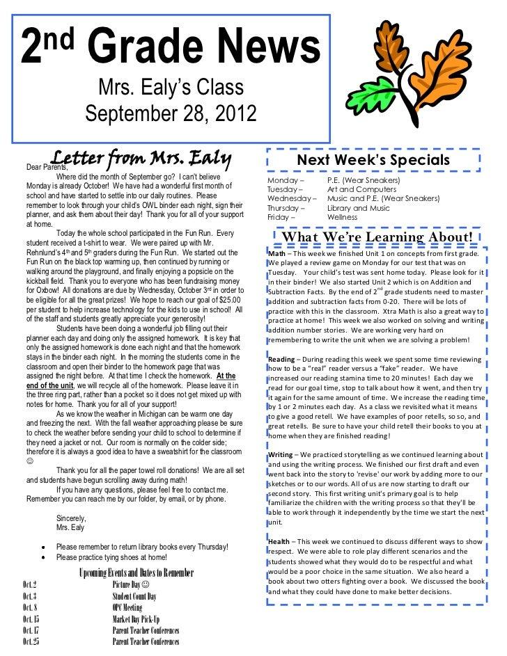 2 nd                    Grade News                      Mrs. Ealy's Class                     September 28, 2012          ...
