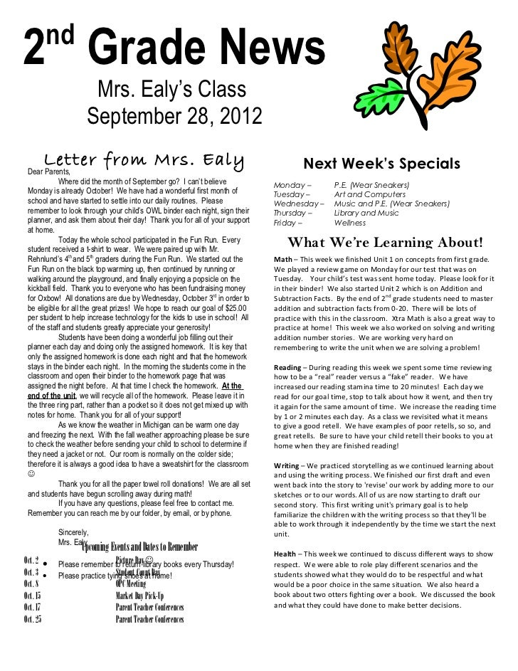 nd2 Grade News                      Mrs. Ealy's Class                     September 28, 2012      Letter from Mrs. Ealy   ...