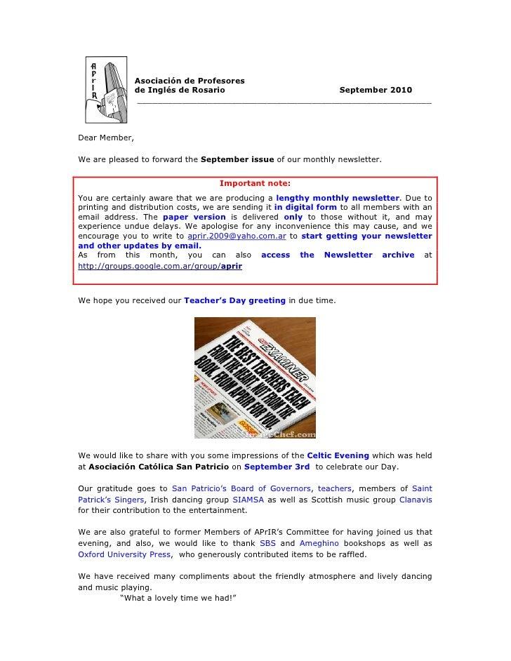 Asociación de Profesores                de Inglés de Rosario                     September 2010                ___________...