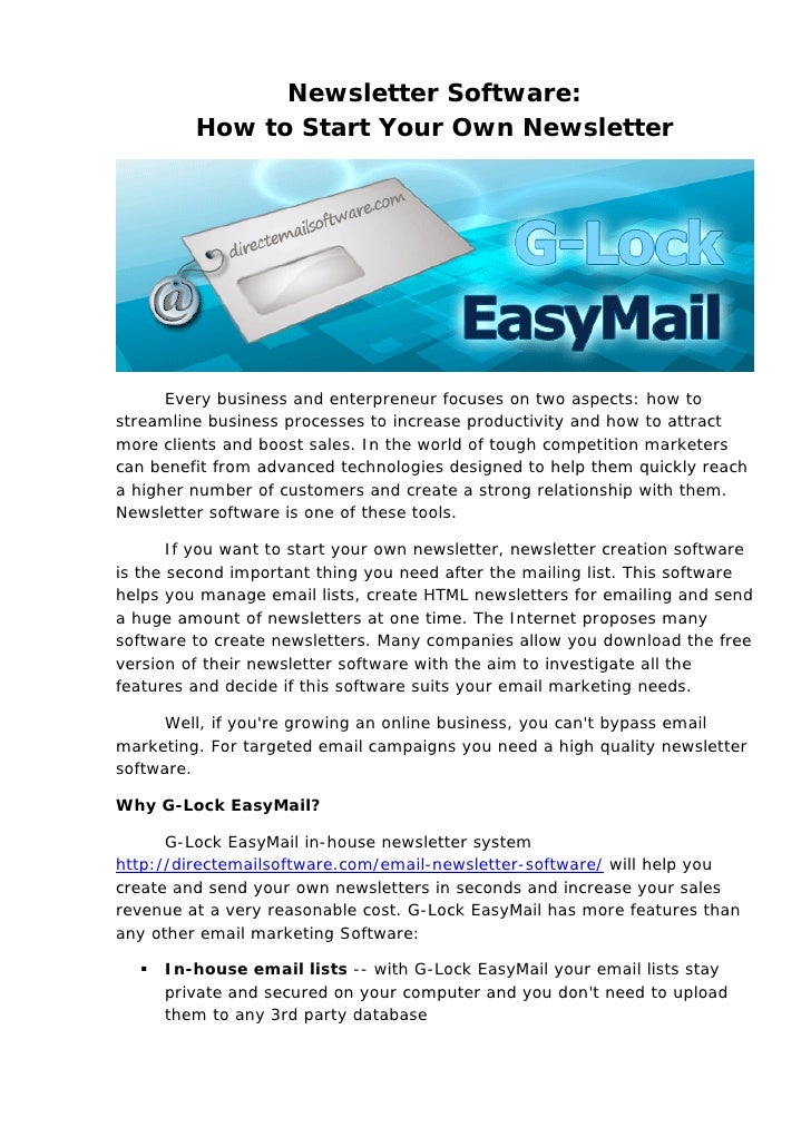 Newsletter Software:         How to Start Your Own Newsletter                                                             ...