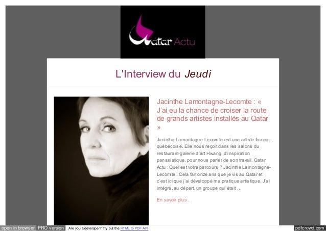 L'Interview du Jeudi  Jacinthe Lamontagne-Lecomte : «  J'ai eu la chance de croiser la route  de grands artistes installés...