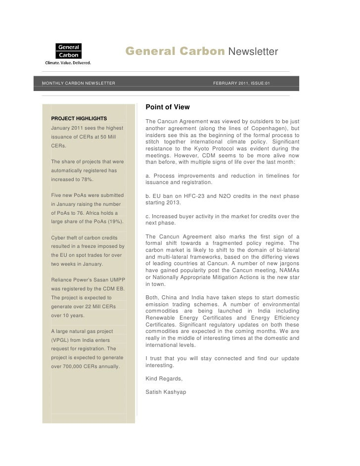 General Carbon NewsletterMONTHLY CARBON NEWSLETTER                                          FEBRUARY 2011, ISSUE:01       ...