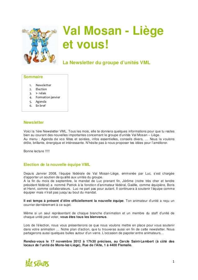 Val Mosan - Liège                             et vous!                             La Newsletter du groupe d'unités VMLSom...
